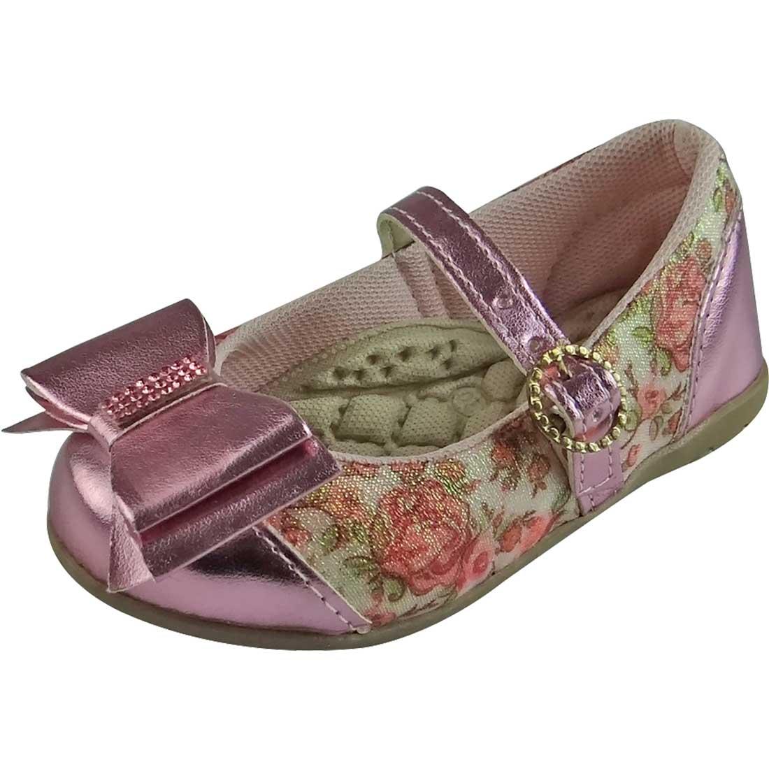 Sapato Boneca Baby Florido com Laço - Rosa