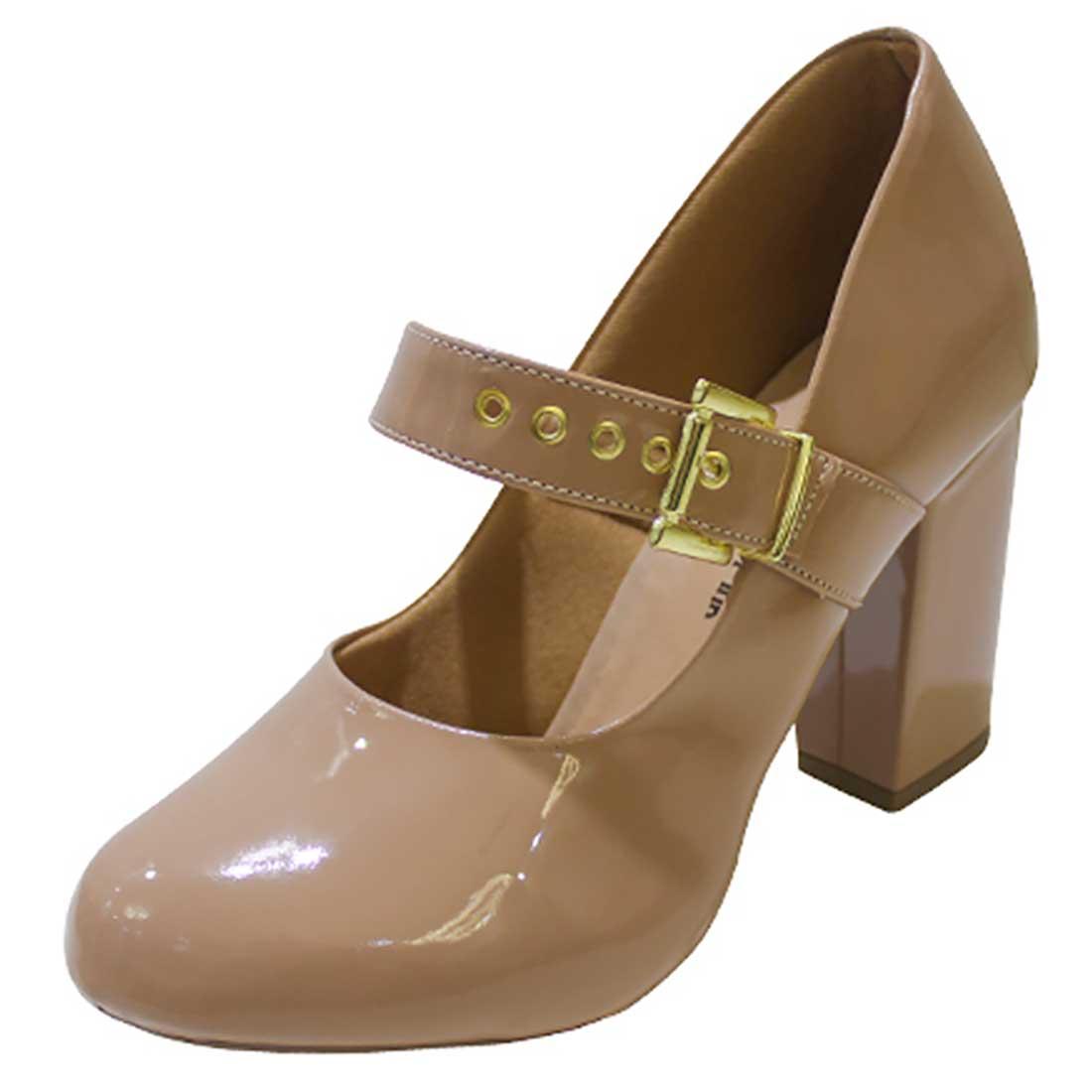 Sapato Boneca em Verniz com Fivela - Nude