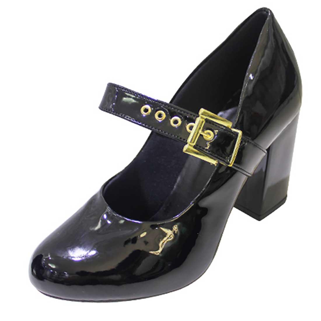 Sapato Boneca em Verniz com Fivela - Preto