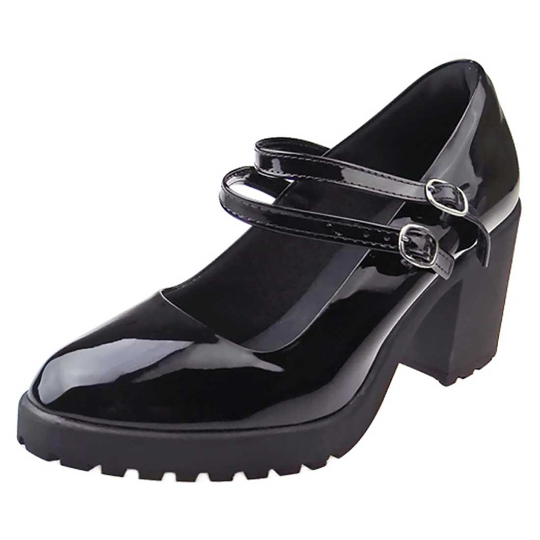 Sapato Boneca Verniz com Tiras - Preto