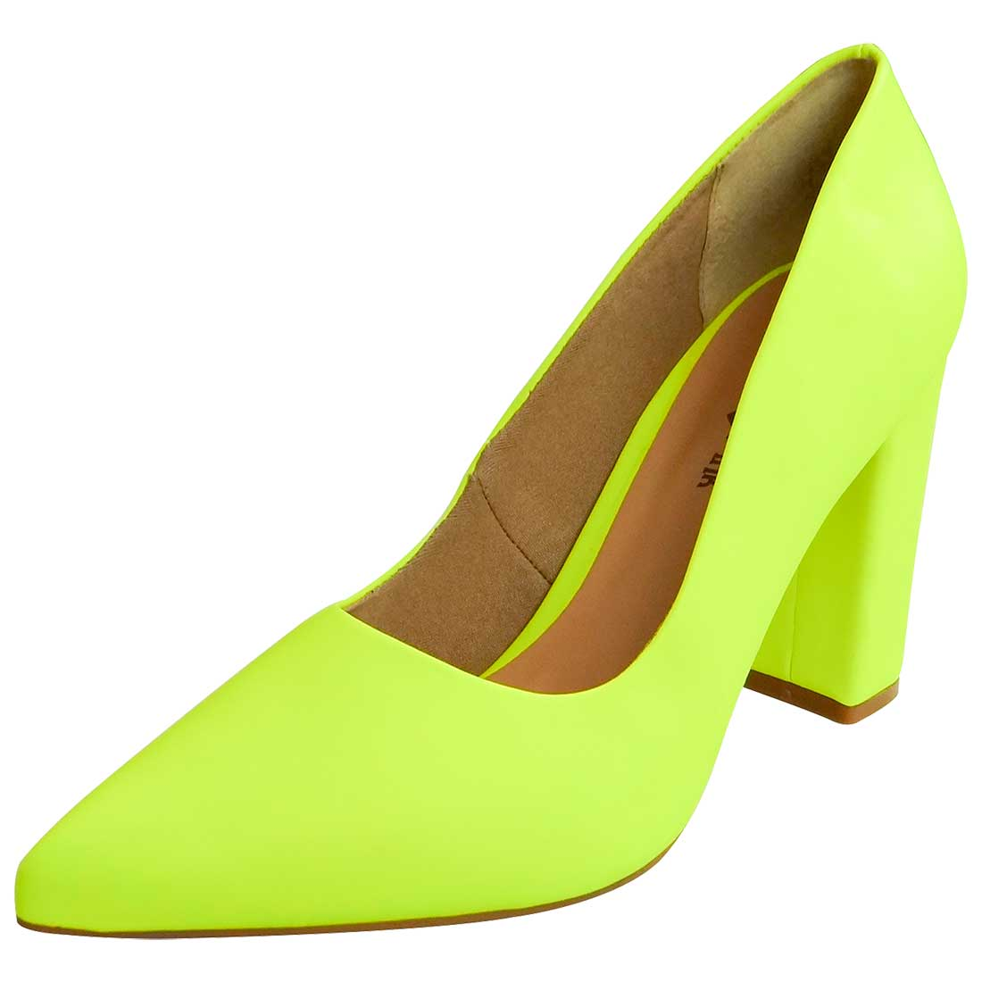 Scarpin Fluor Salto Bloco - Amarelo