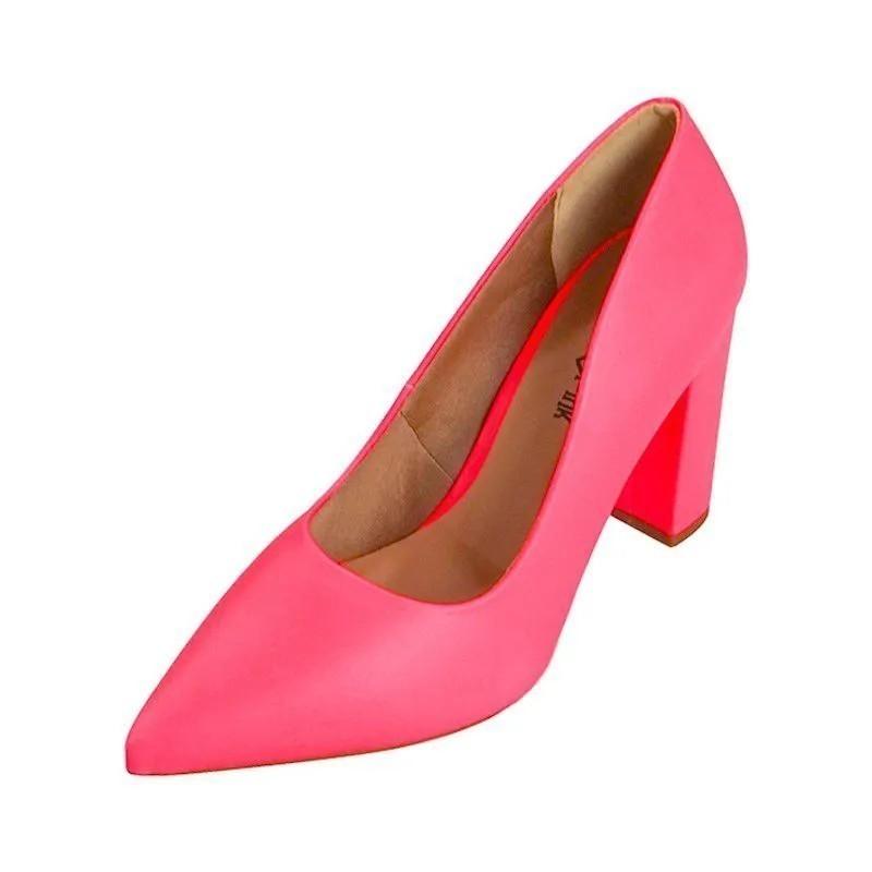 Scarpin Fluor Salto Bloco - Pink