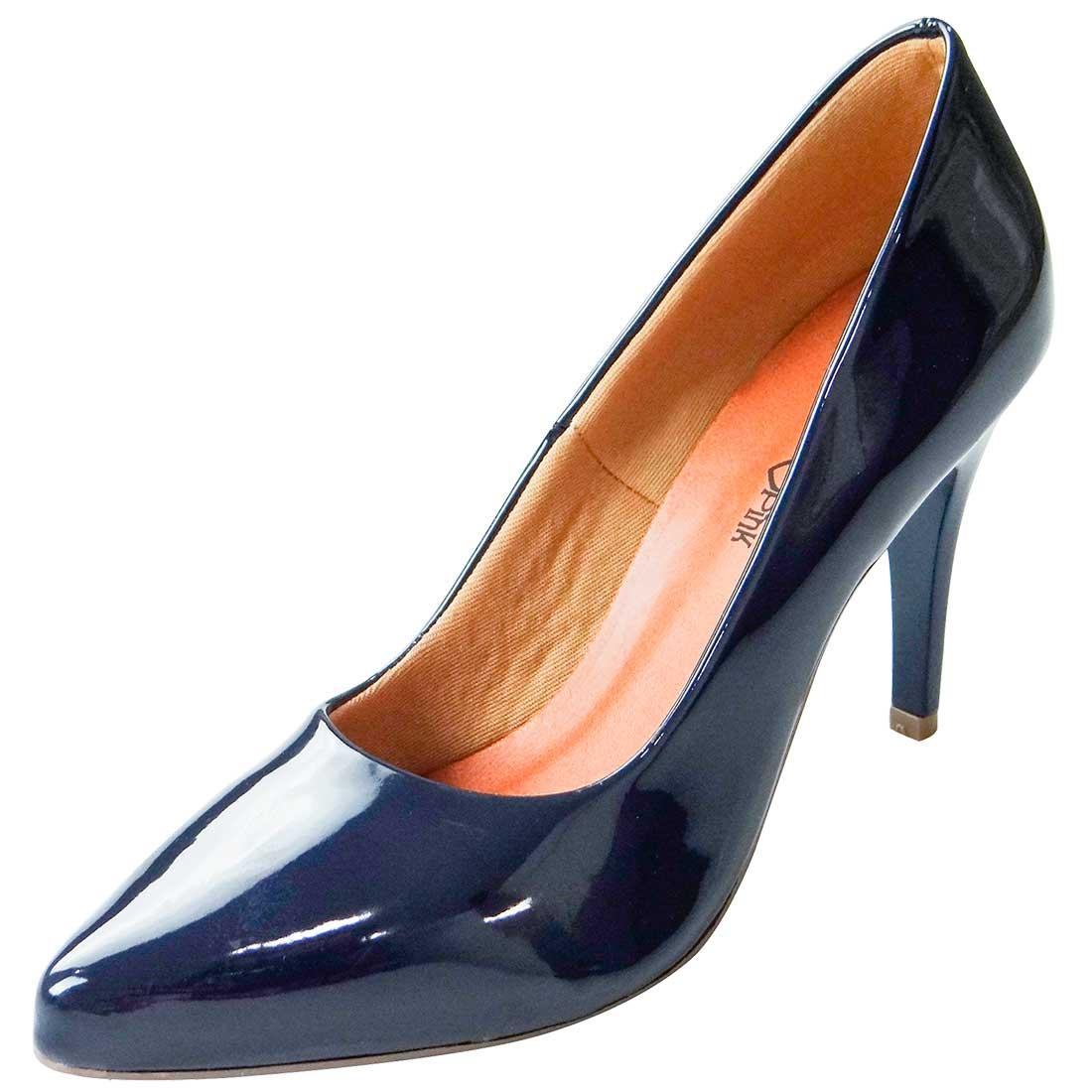 Scarpin Verniz Bico Fino - Azul