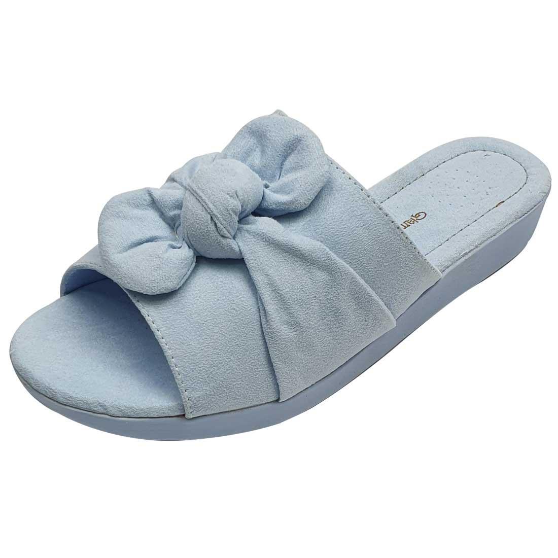 Tamanco em Suede com Laço - Azul Bebê