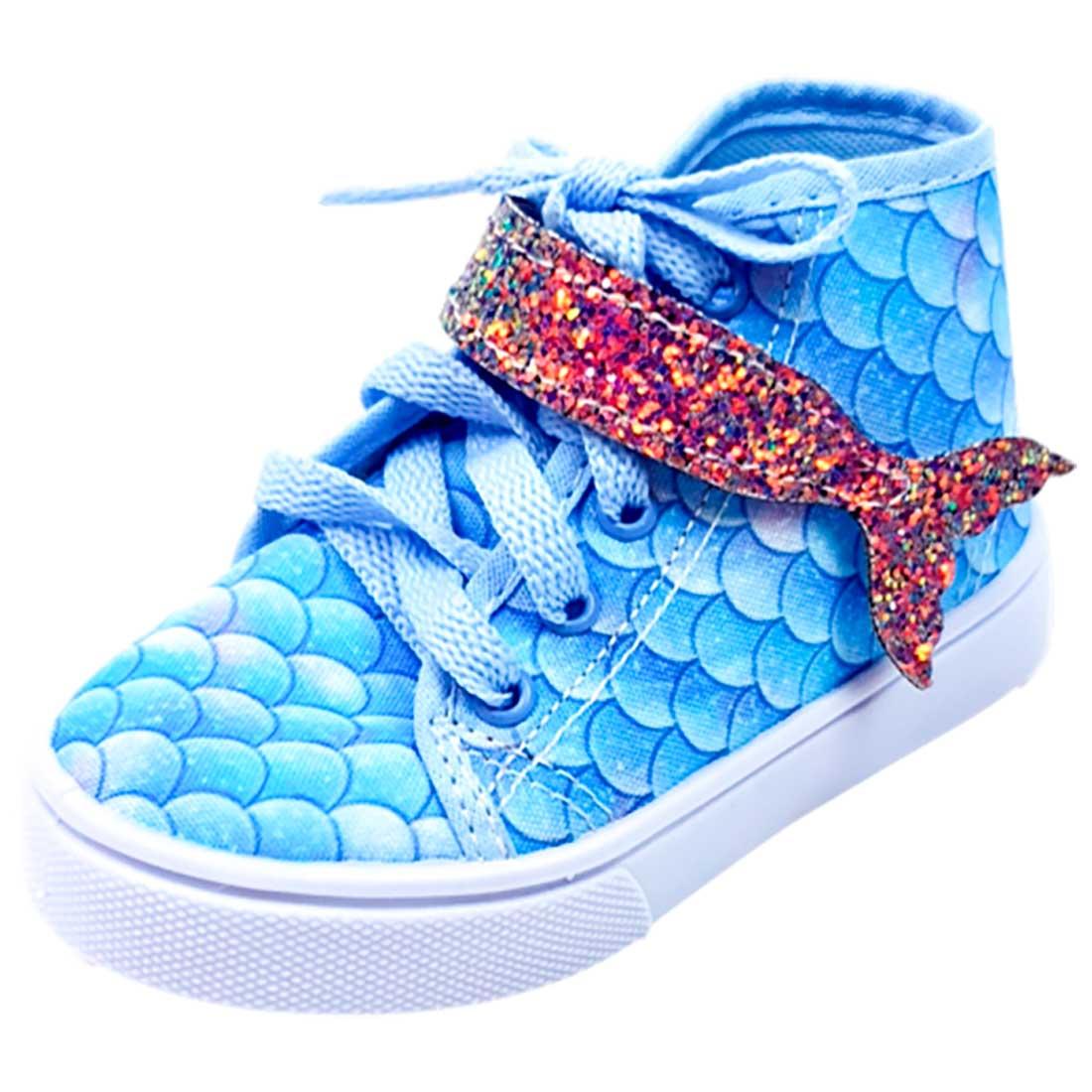 Tênis Baby Cano Alto Sereia - Azul