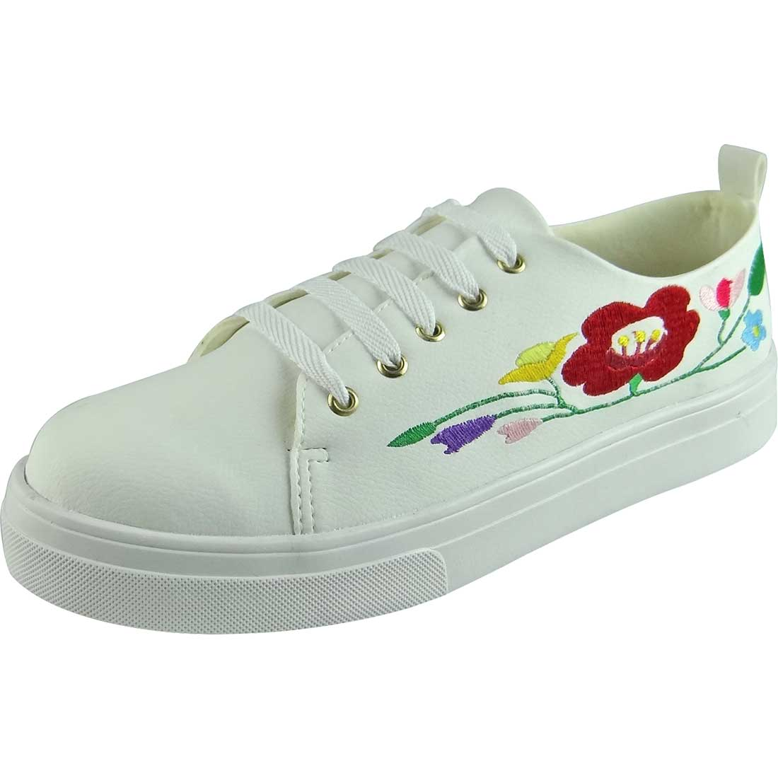 Tênis Bordado de Flores - Branco