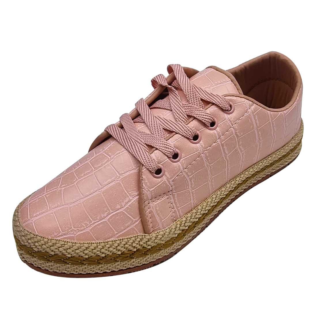 Tênis Croco com Corda - Rosé