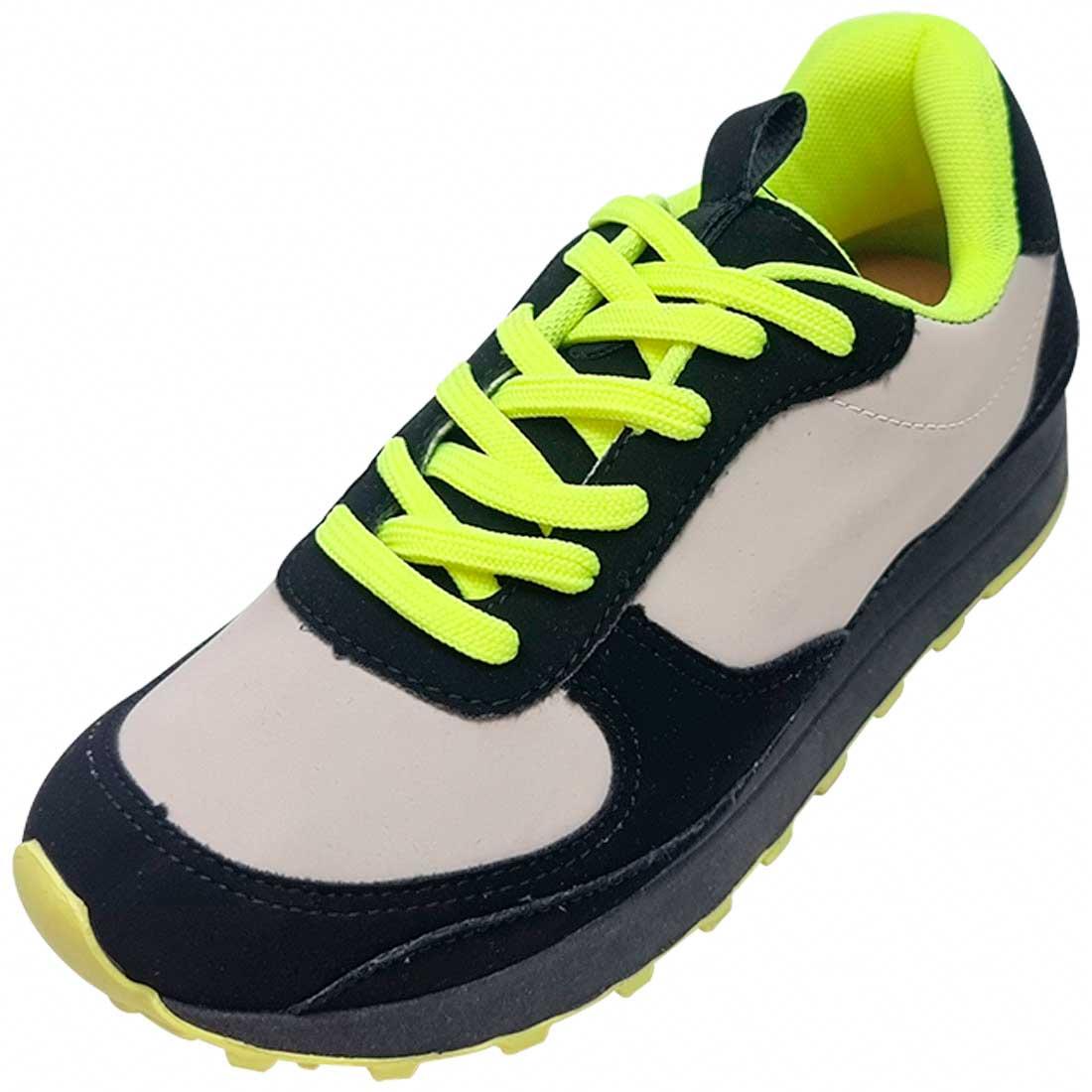 Tênis Jogging - Preto, Cinza e Amarelo
