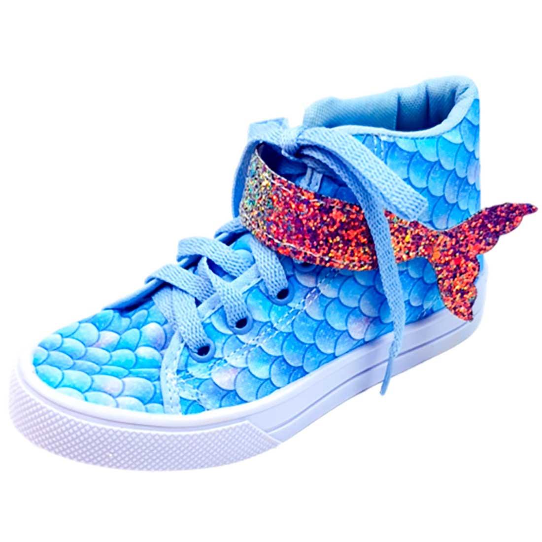 Tênis Kids Cano Alto Sereia com Glitter - Azul