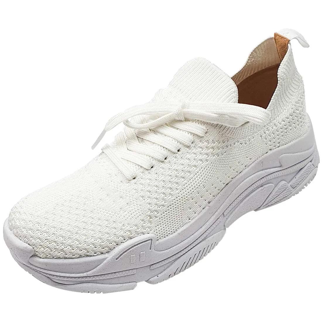 Tênis Meia Comfort com Cadarço - Branco