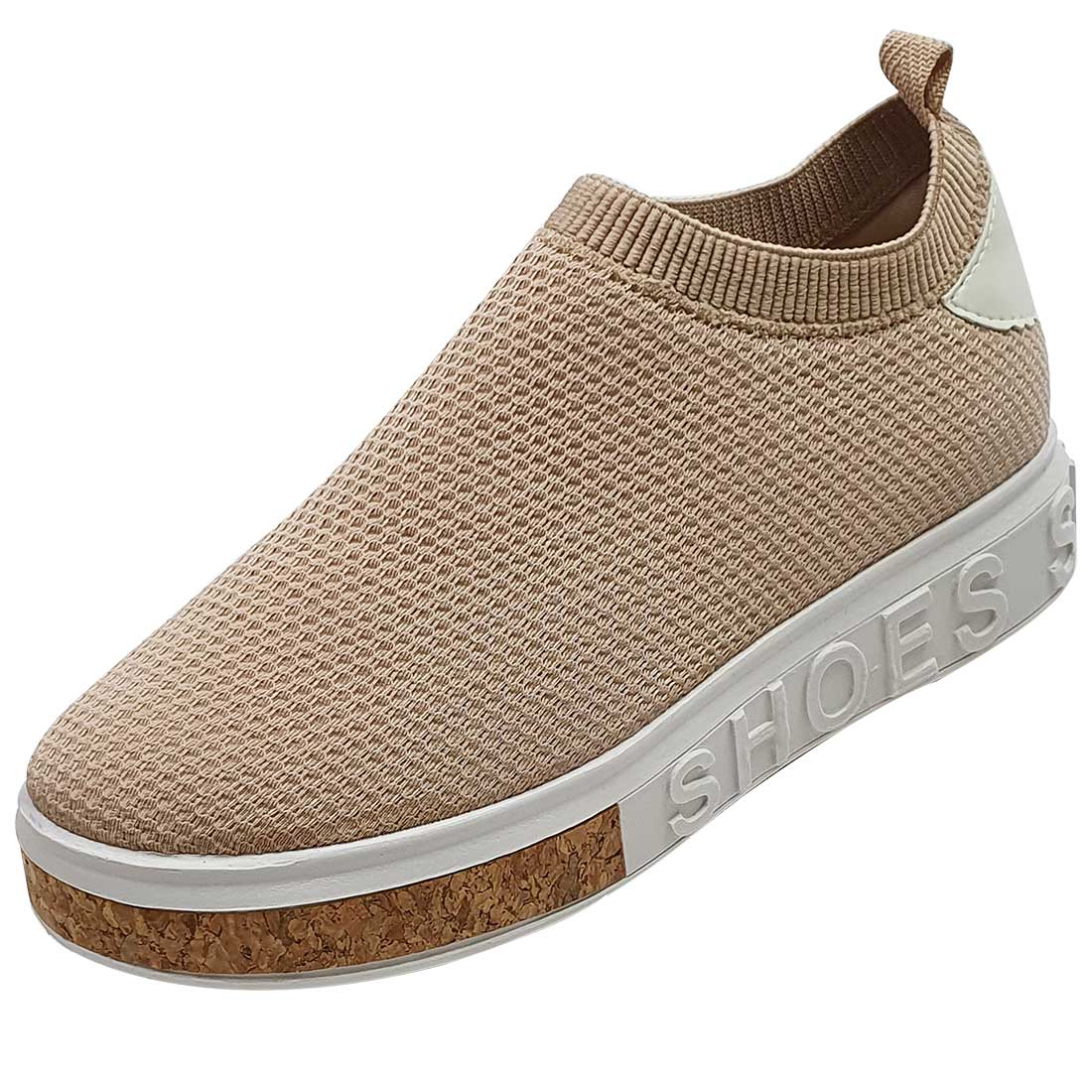 Tênis Meia Shoes em Tecido - Bege