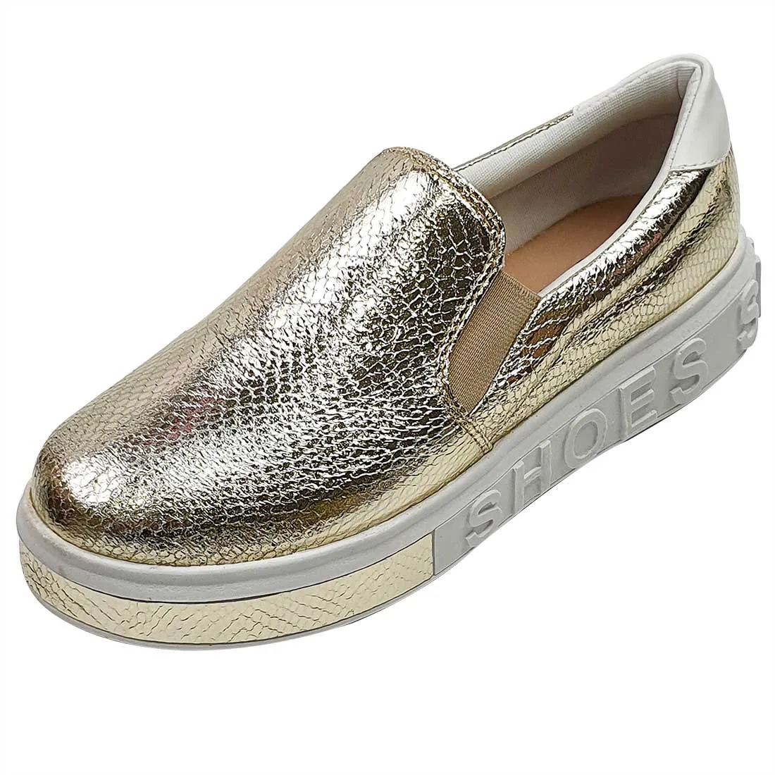 Tênis Slip On Shoes Croco - Ouro