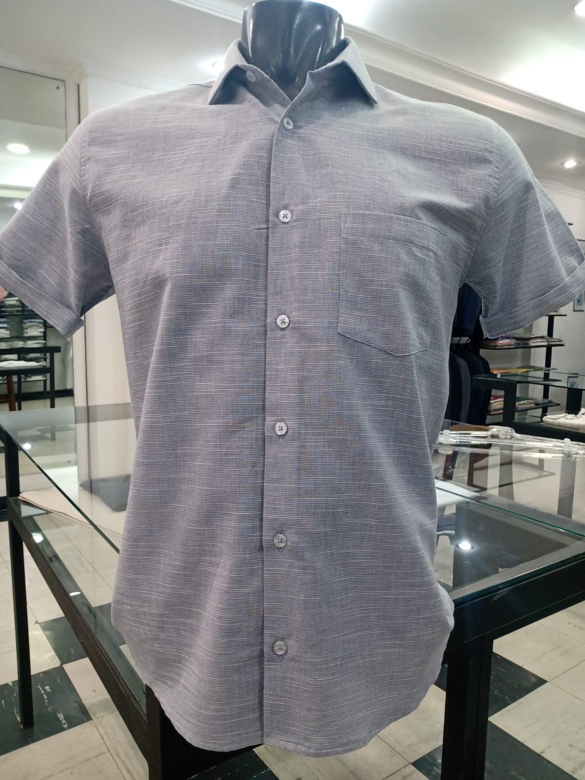 Camisa m/curta 100% algodão fio 80 egípcio