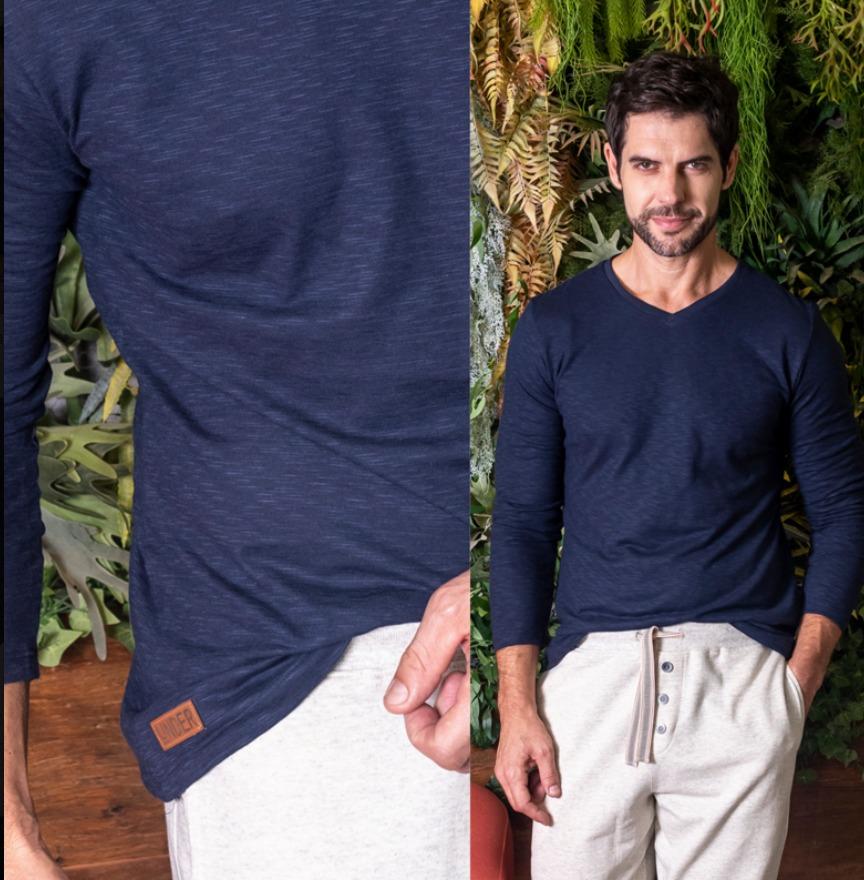 Camiseta manga longa algodão flamê
