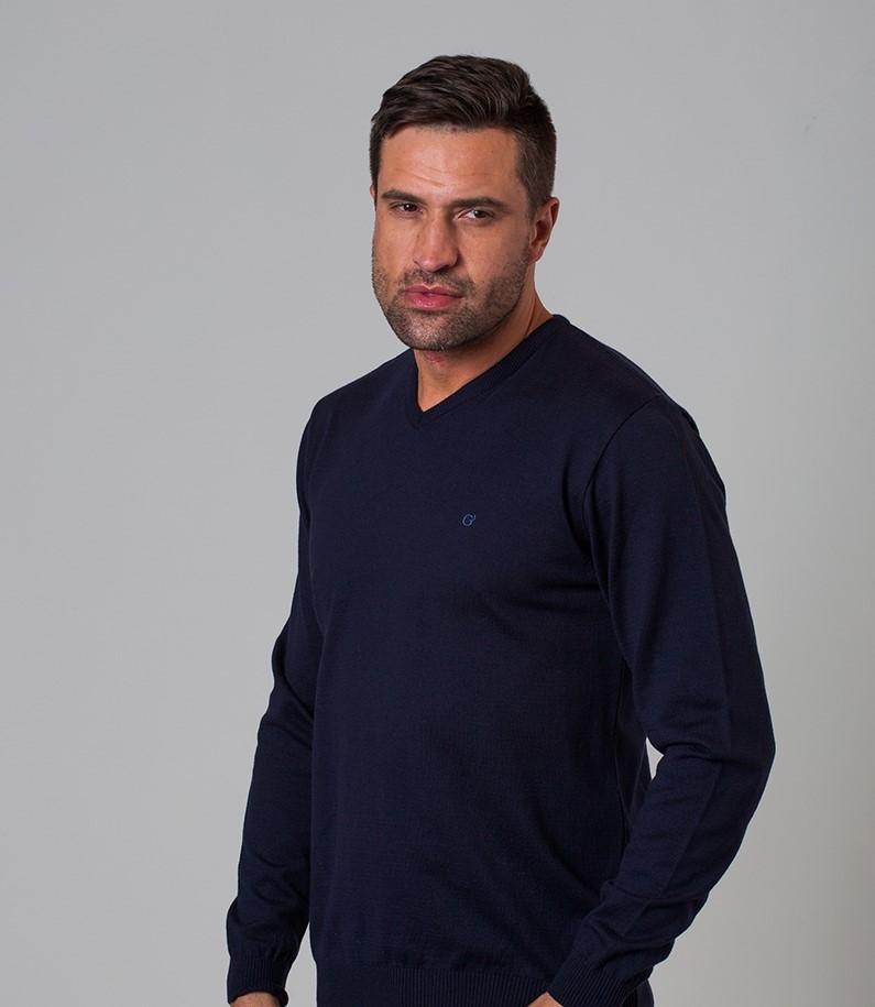 Sweater gola V algodão premium