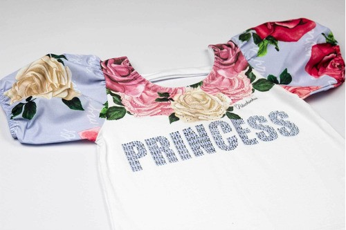 Blusa Cotton Detalhe Manga Floral Pituchinhus Premium