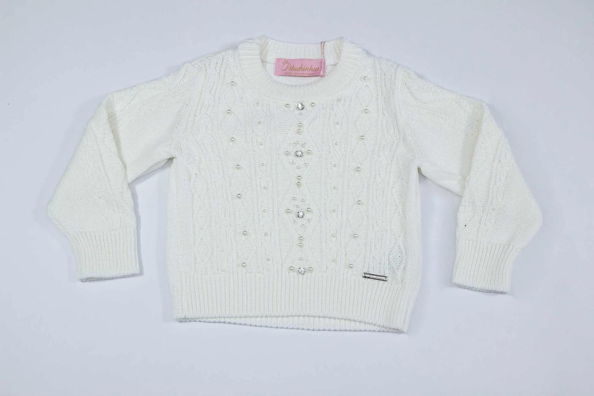 Blusa Tricot Tranças Bordados Pituchinhus Premium