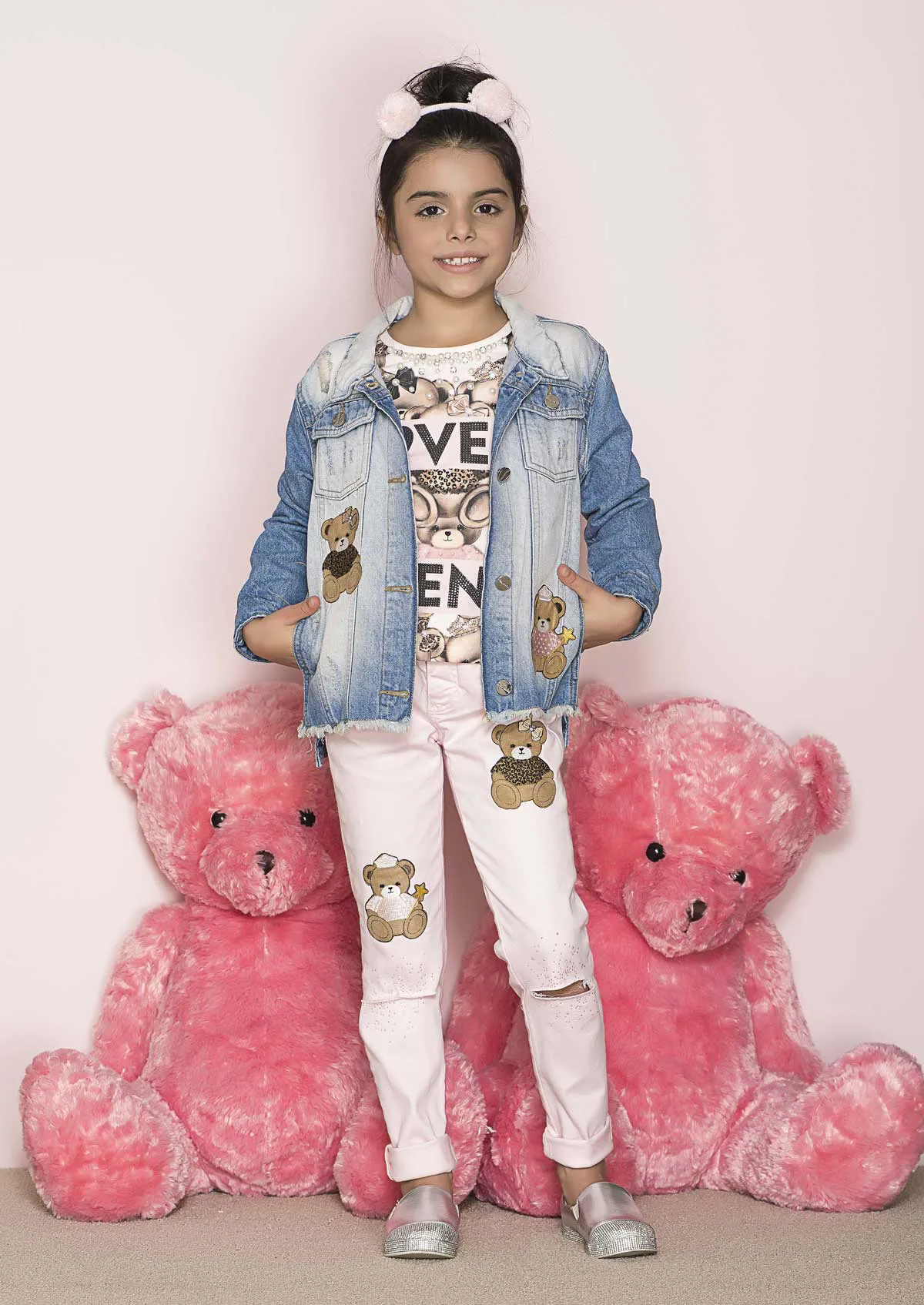 Calça de Sarja Rosa Patches Ursos Pituchinhus Premium