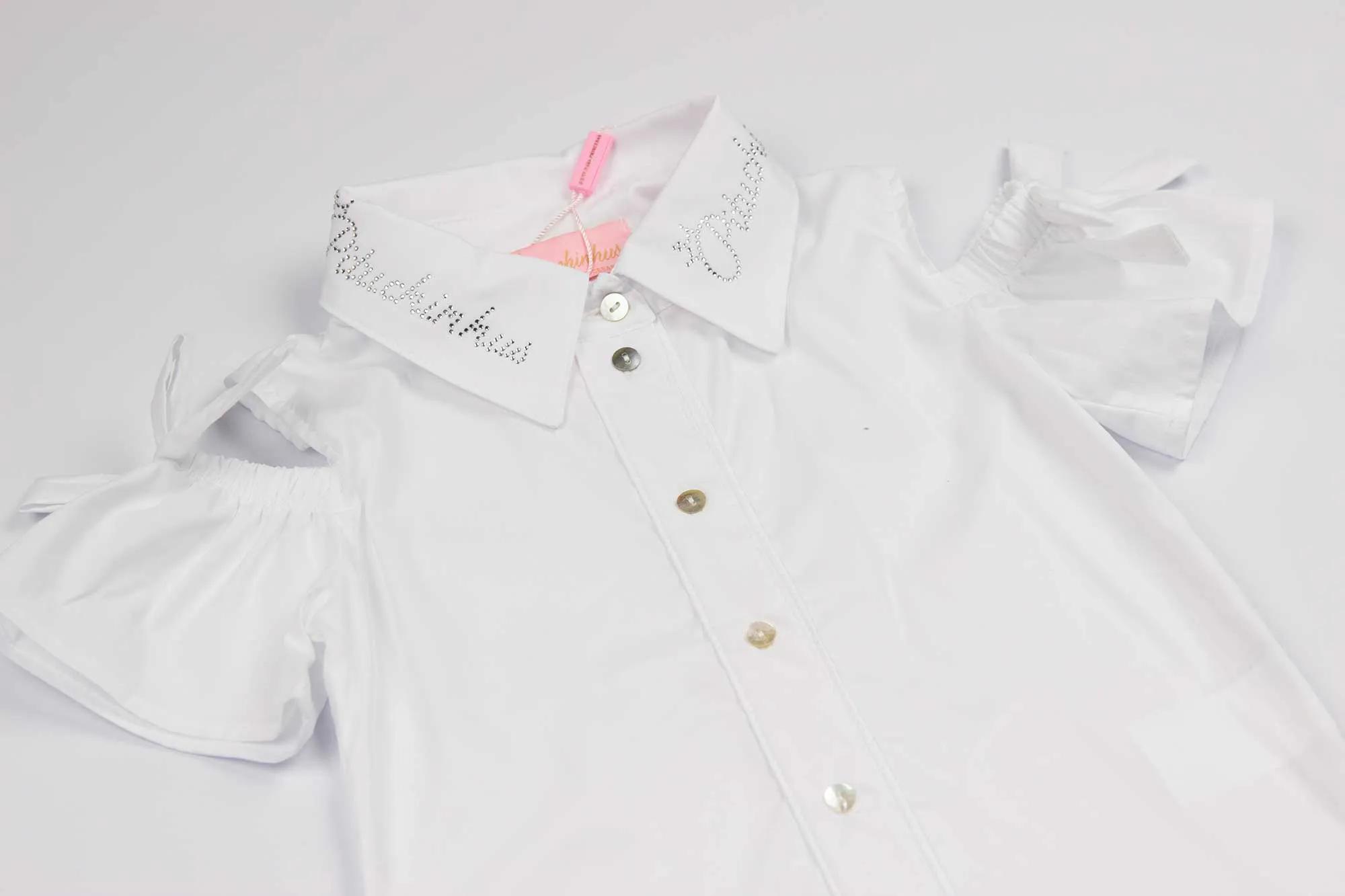 Camisa Tricoline Detalhe Manga Laço Pituchinhus Premium