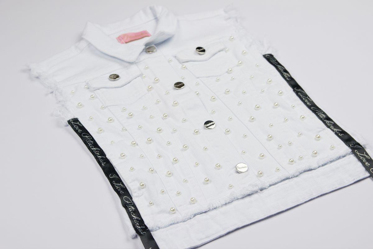 Colete Jeans Branco Bordado Pituchinhus Premium