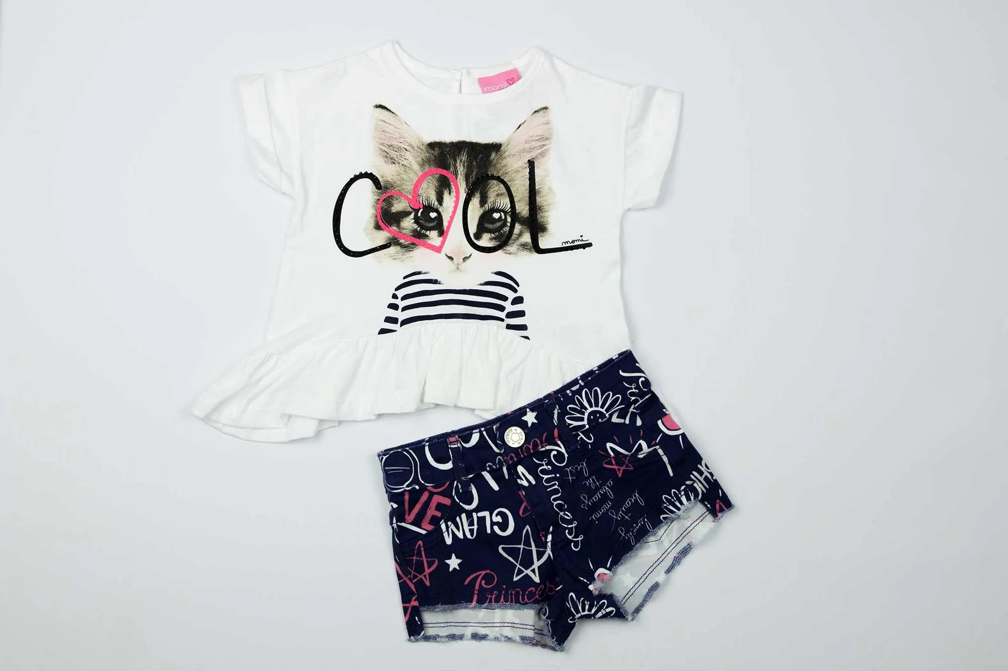 Conjunto Blusa e Shorts Gatinho - Momi