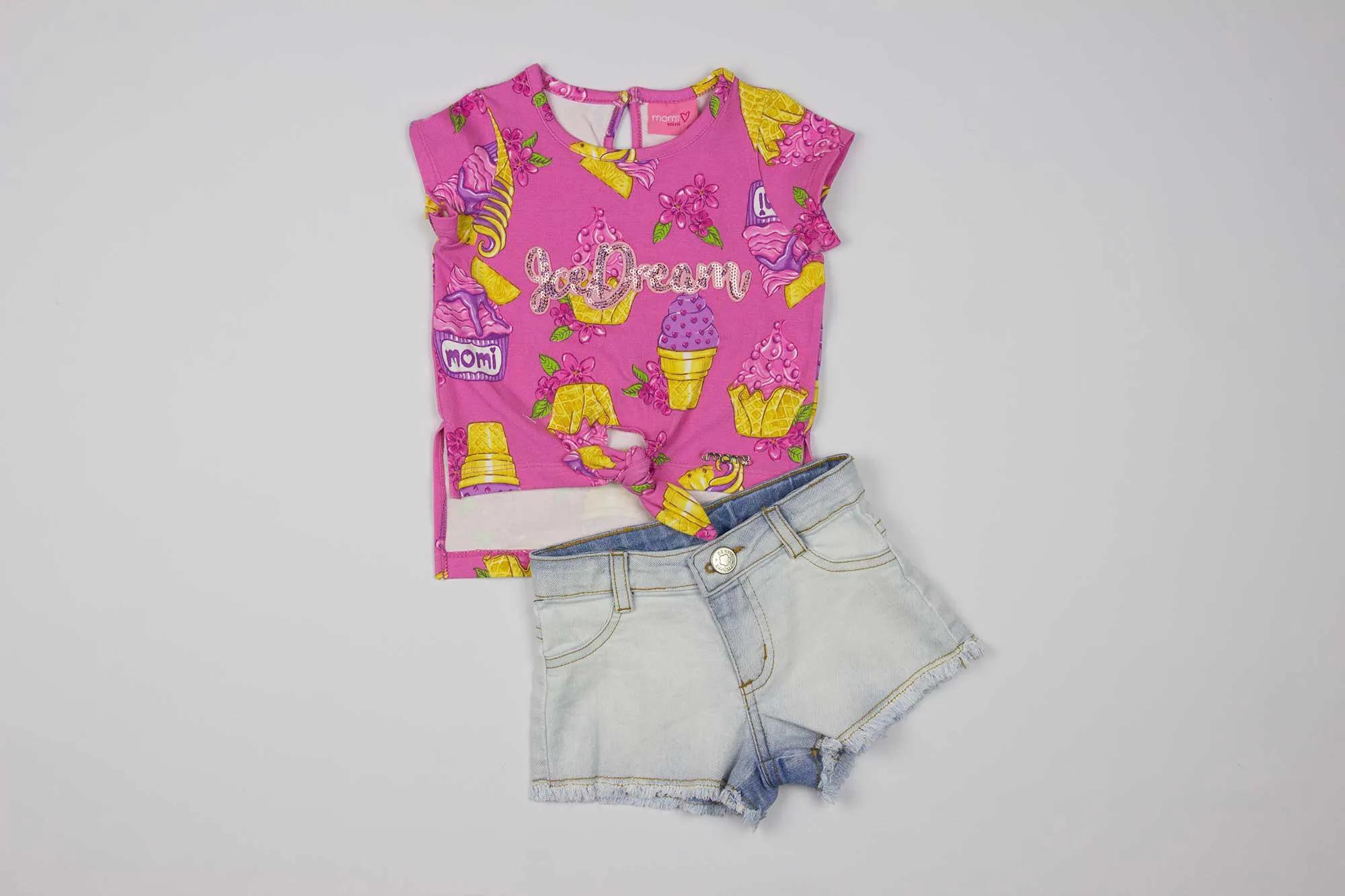Conjunto Blusa e Shorts Sorvetinhos Momi