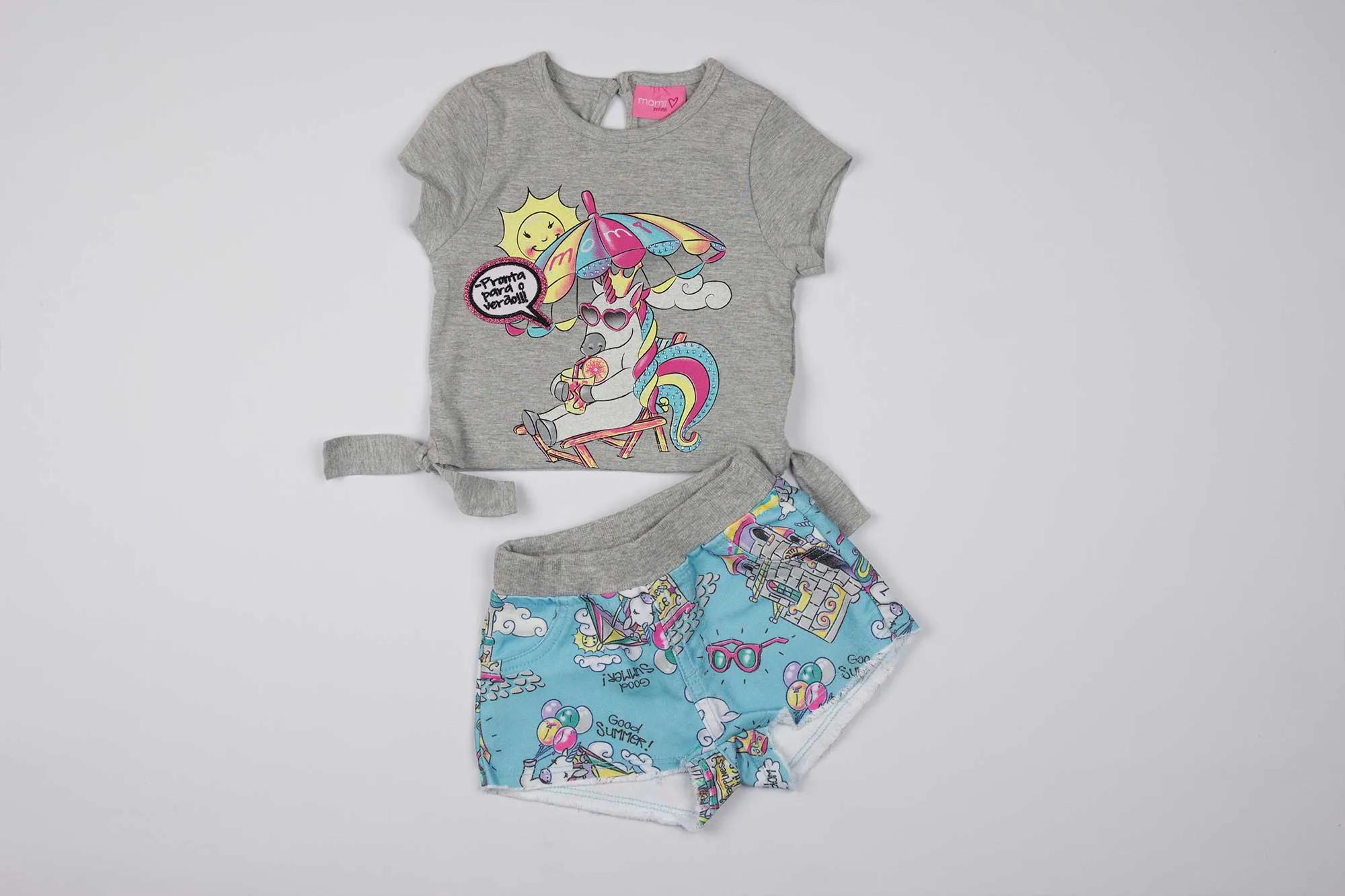Conjunto Blusa e Shorts Summer Unicórnio- Momi