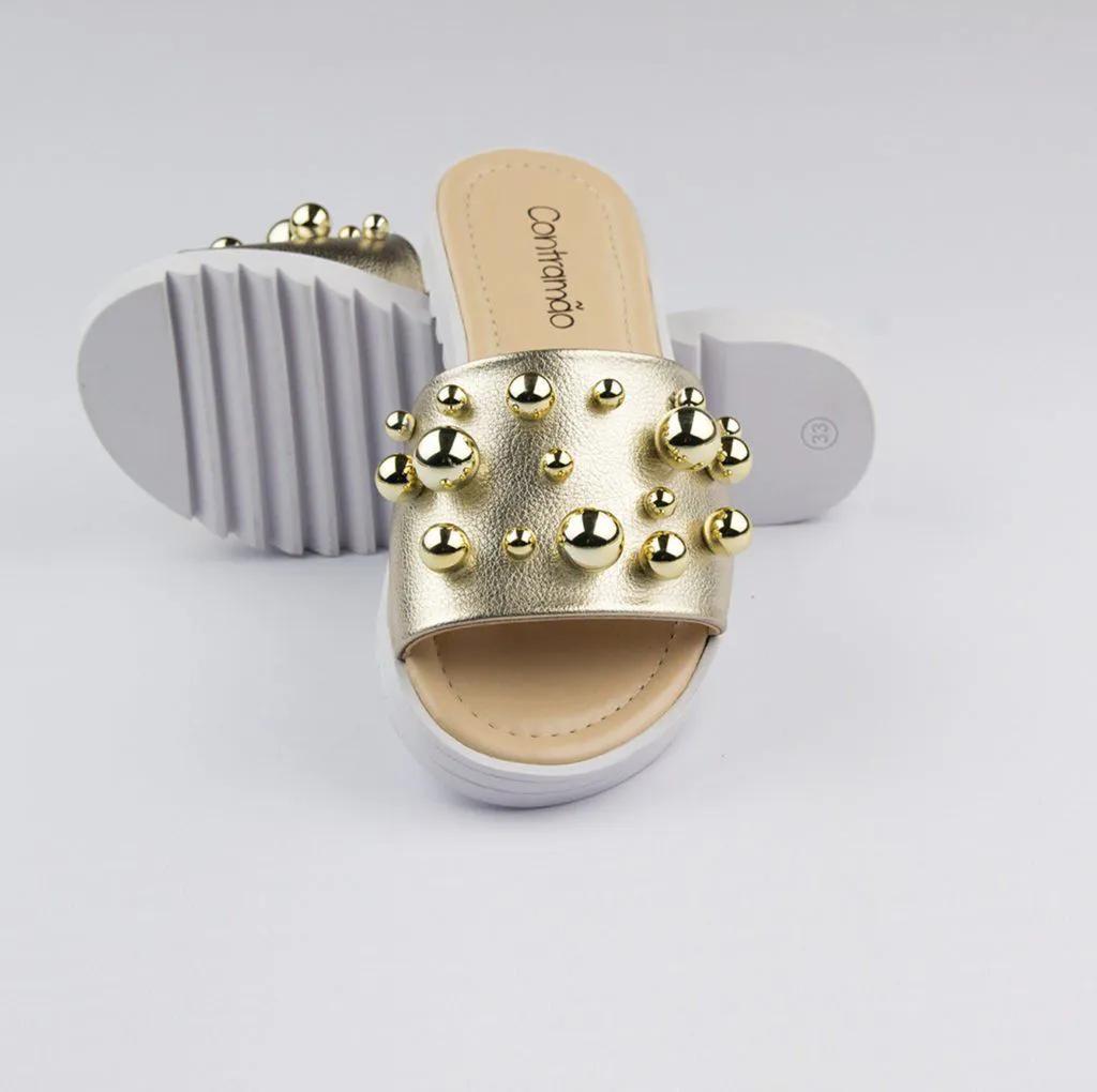 Rasteira Napa Floater Metalizado Ouro Light Contramão