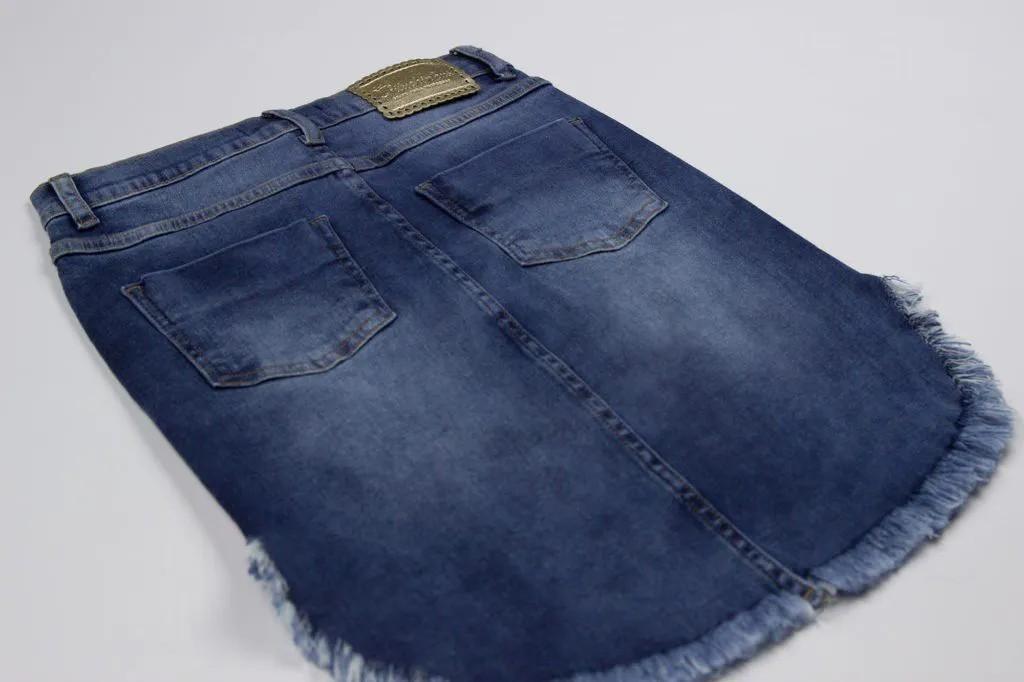 Saia Jeans Mullet Patches Pituchinhus Premium