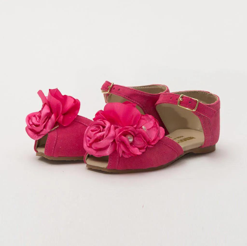 Sandália Camurça Pink Flores Amoreco