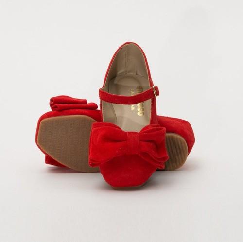 Sapato Camurça Vermelha Laço Amoreco