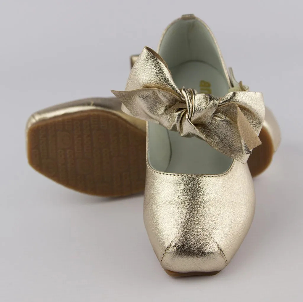 Sapato Infantil Dourado Laço Amoreco