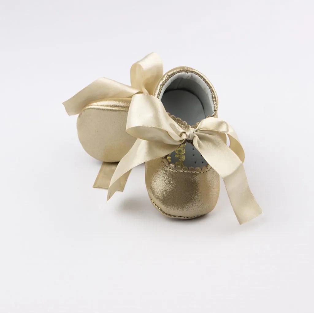Sapato Infantil Dourado Laço em Fita Amoreco