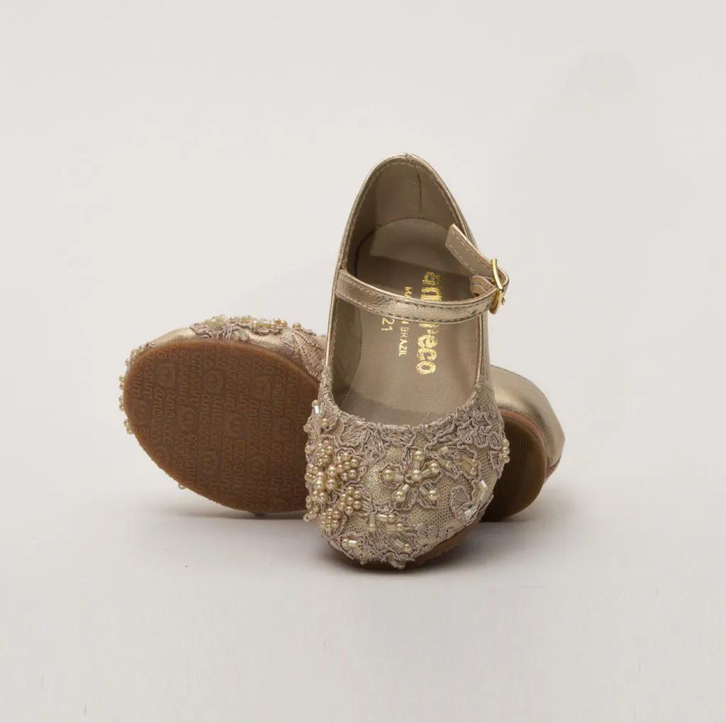 Sapato Pelica Dourado Renda Nude Amoreco