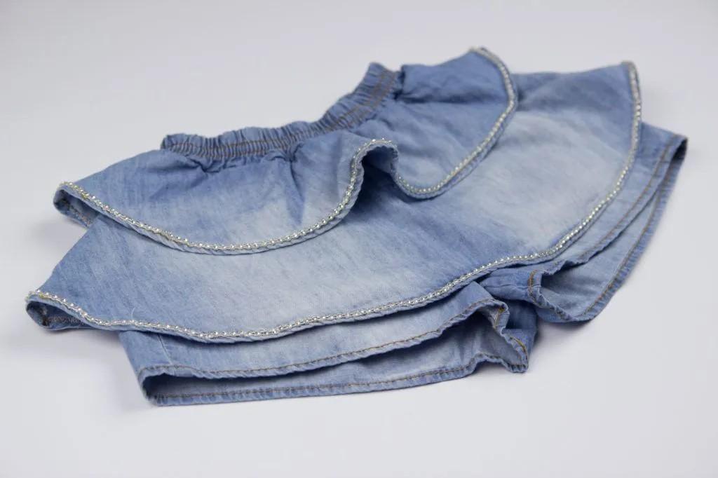Short Saia Babados Jeans Fino Pituchinhus P mini