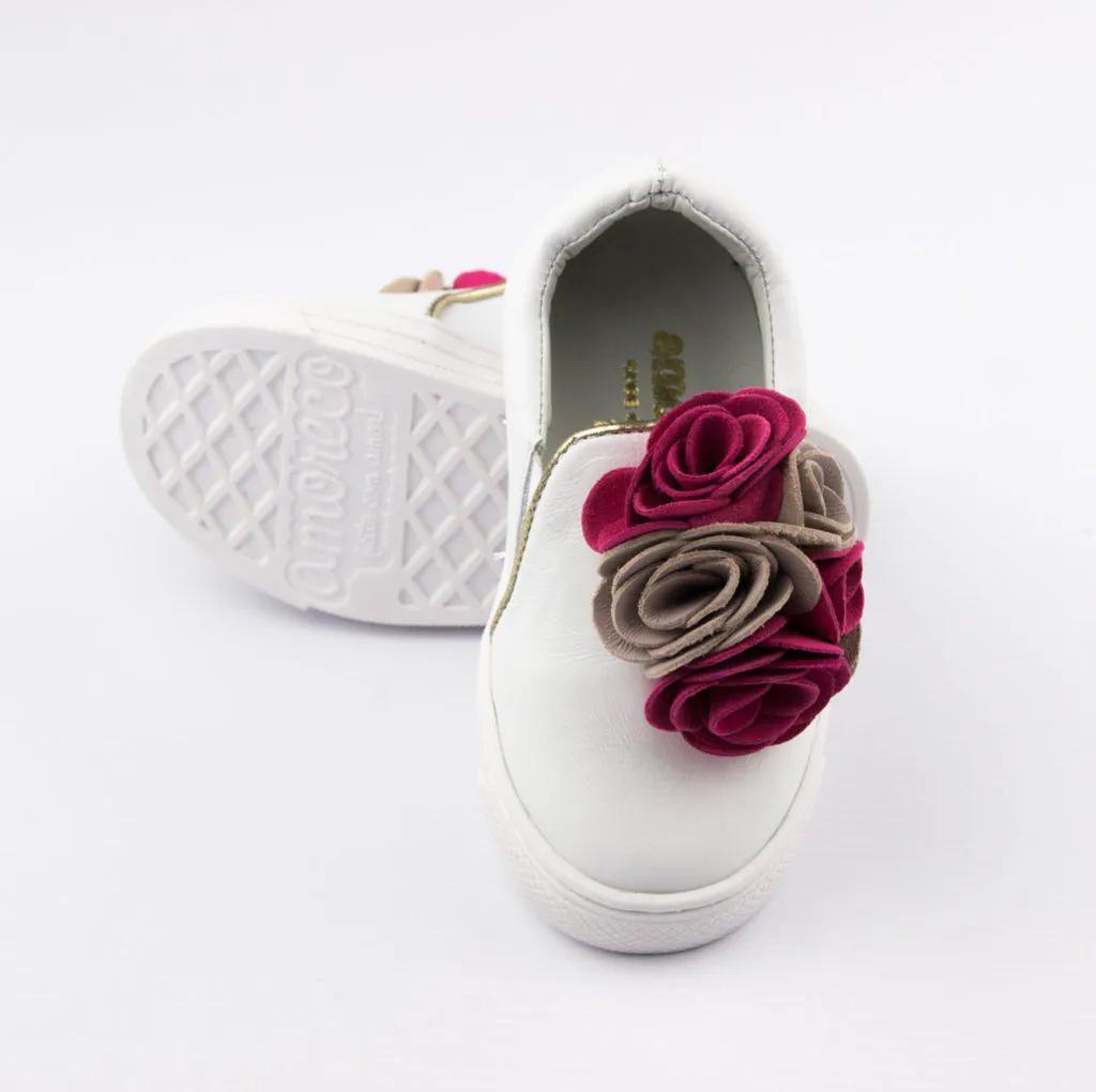 Tênis Infantil Branco Flores Amoreco