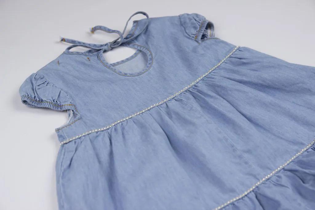 Vestido Jeans Fino Babado Pituchinhus P mini