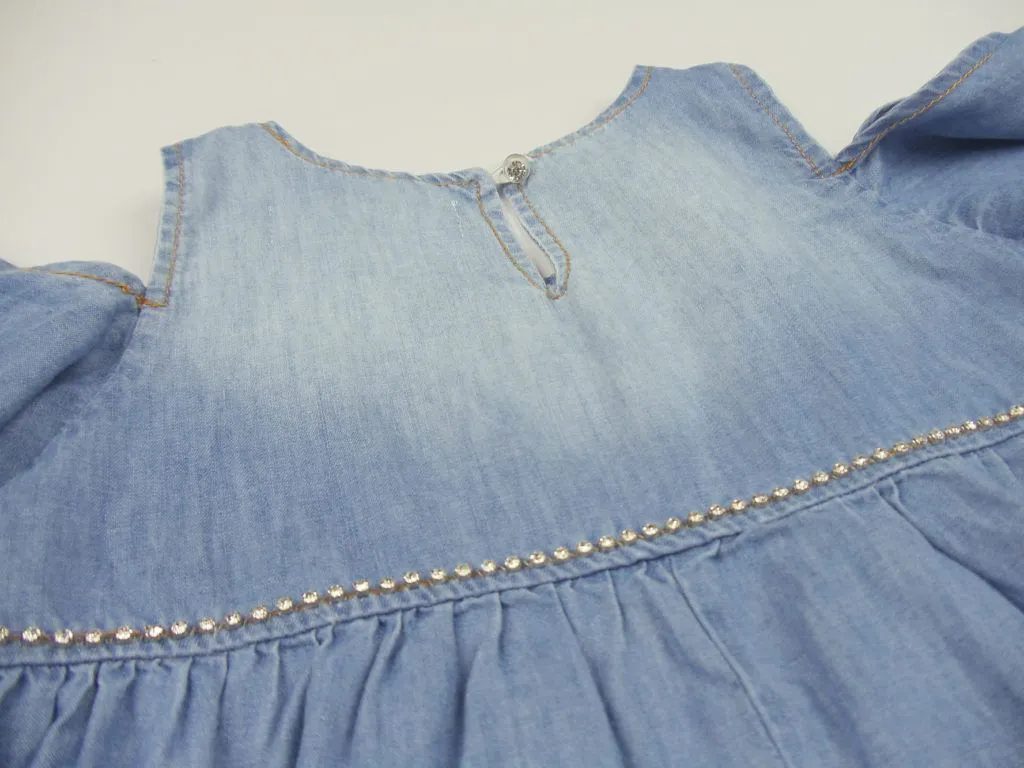 Vestido Jeans Fino Cristais Pituchinhus Premium