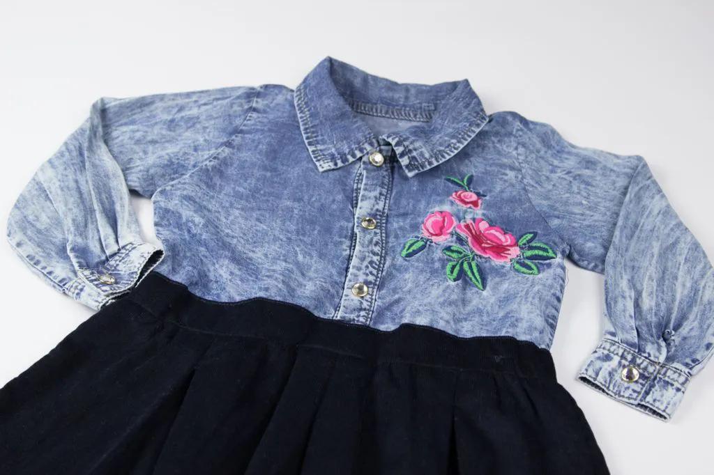 Vestido Jeans Veludo Flores Upi Uli
