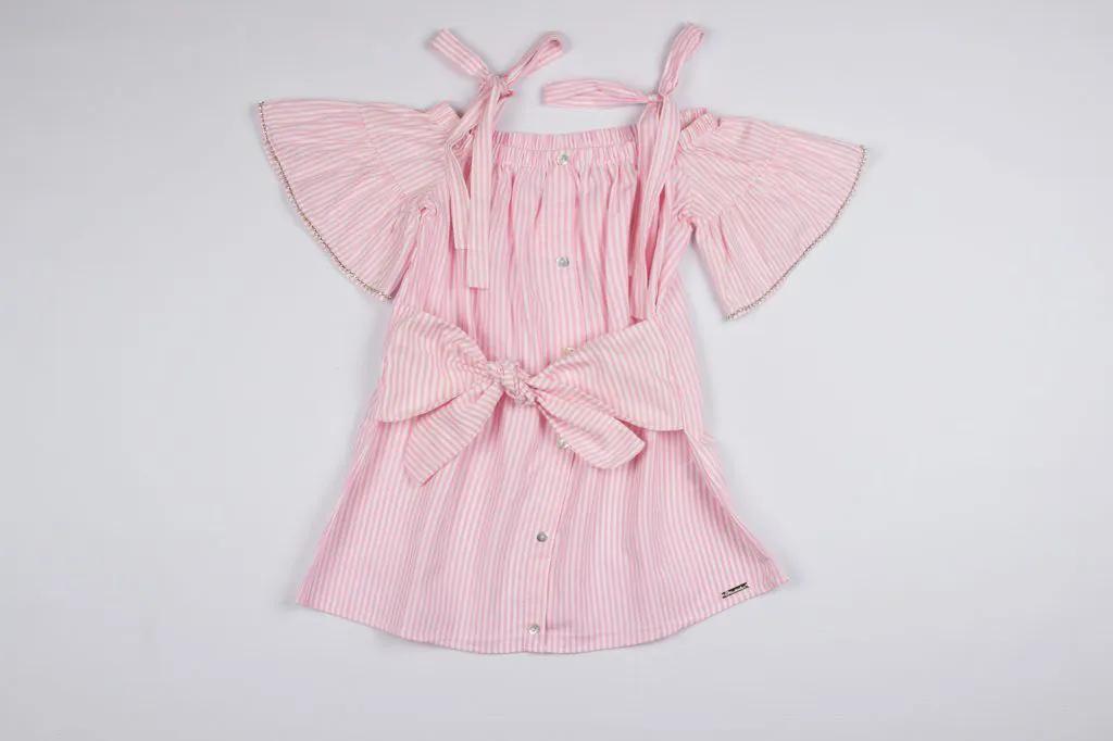 Vestido Listra Rosa Amarração Pituchinhus Premium