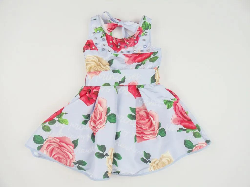Vestido Tricoline Floral Bordados Pituchinhus Premium