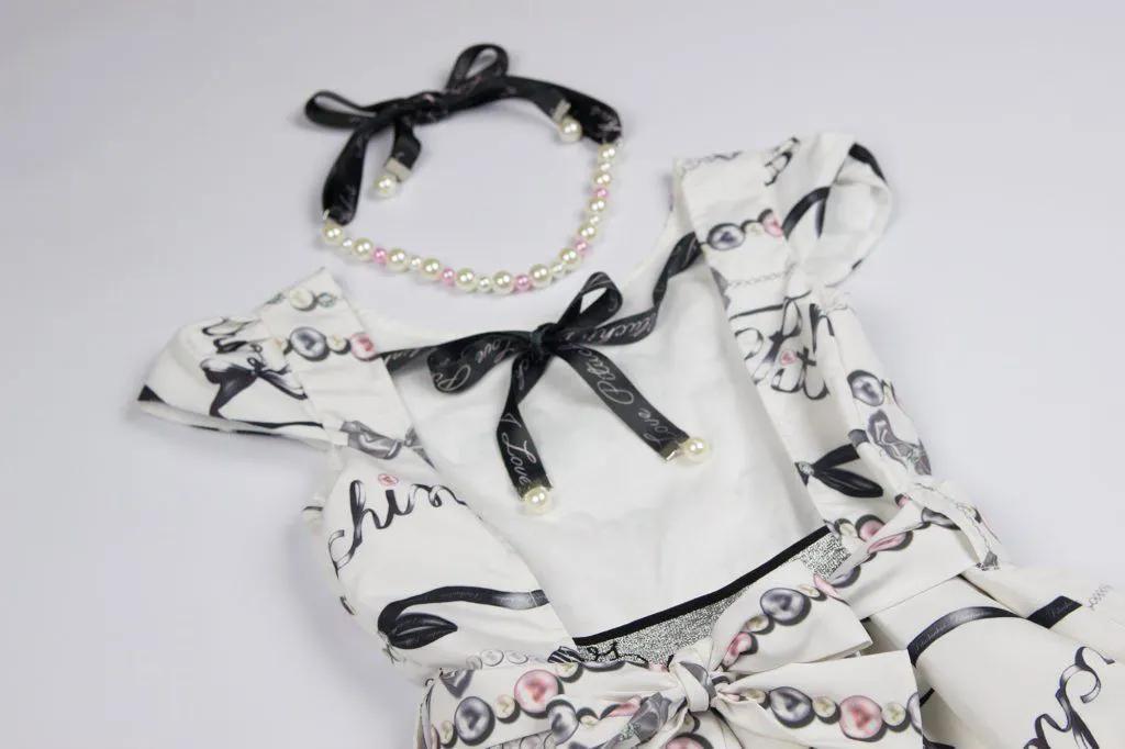 Vestido Tricoline Laços e Pérolas Pituchinhus Premium