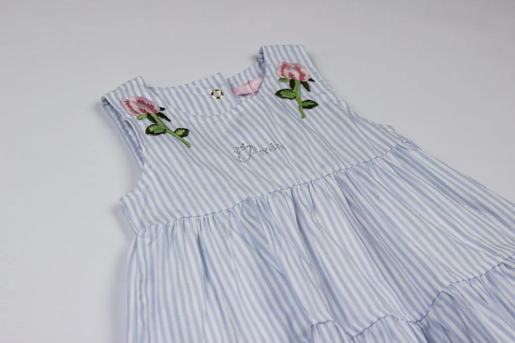 Vestido Tricoline Listrado Patches Pituchinhus P mini