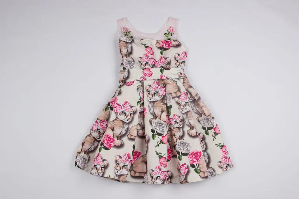 Vestido Tricoline Tigrinhos Tule Pituchinhus Premium