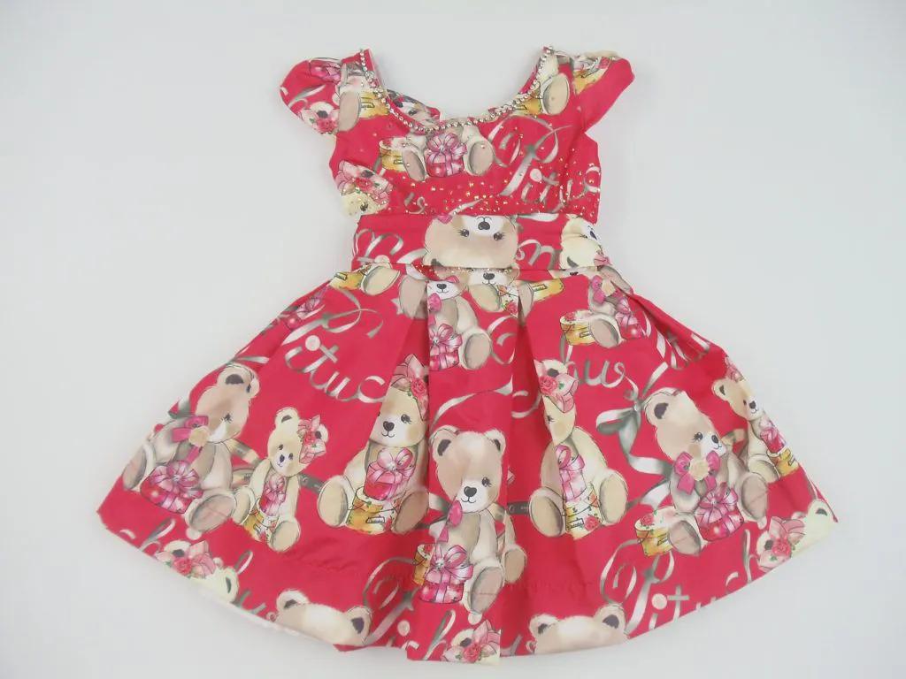 Vestido Tricoline Ursinhos Presente Pituchinhus Premium