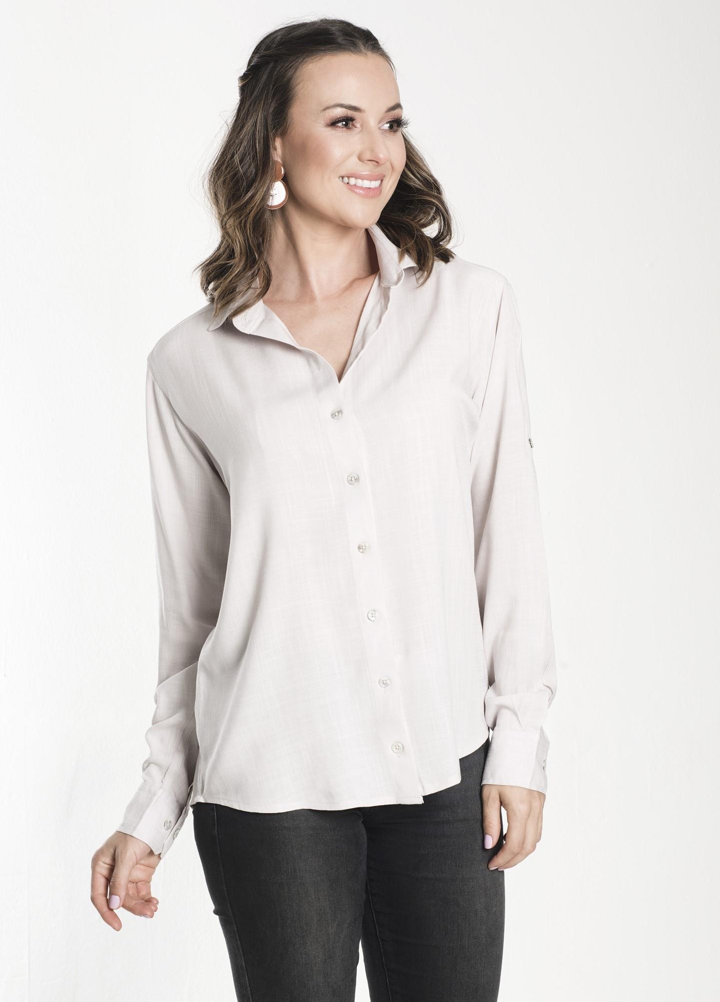 Camisa Feminina Linho Areia