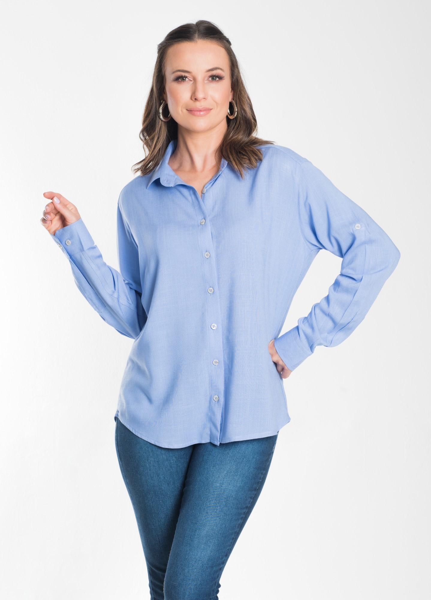 Camisa Feminina Linho Azul