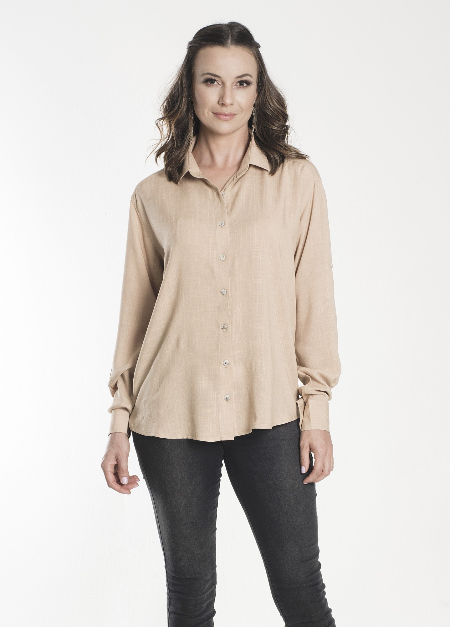 Camisa Feminina Linho Caqui