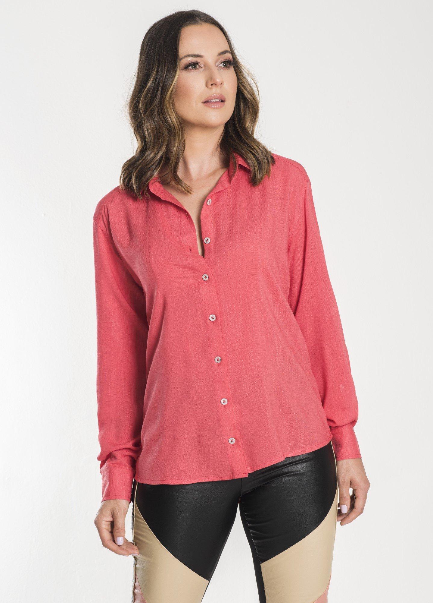 Camisa Feminina Linho Coral
