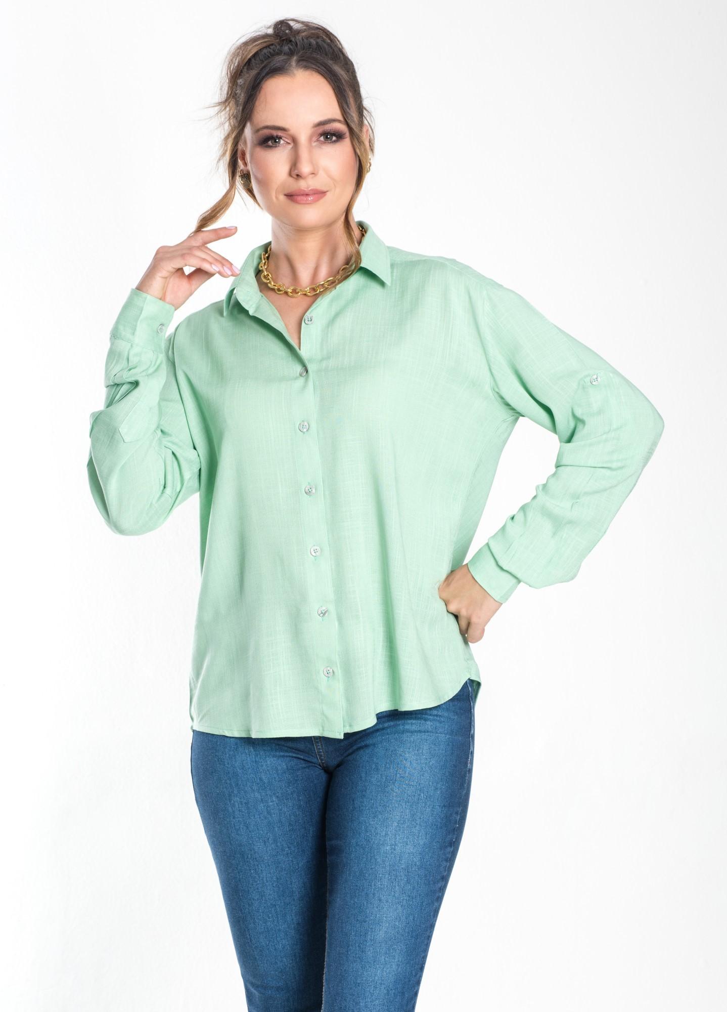 Camisa Feminina Linho Menta